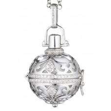 Hanger zilver / zirconia met klankbol wit 20mm - 1780