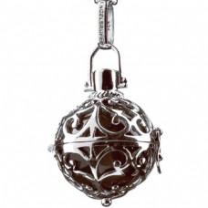 Hanger zilver met klankbol bruin 24mm - 50098