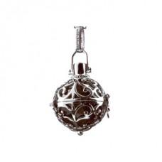 Hanger zilver met klankbol bruin 16mm - 50100