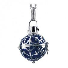 Hanger zilver met klankbol blauw 20mm - 50111