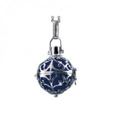 Hanger zilver met klankbol blauw16mm - 50112