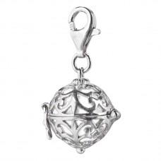 Charm zilver gerodineerd met klankbol wit 14mm - 50119