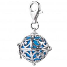 Charm zilver gerodineerd met klankbol turkoois 14mm - 50121