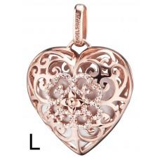 Hanger hart/zirconia rose verguld met klankhart wit 29mm - 50125