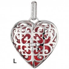 Hanger hart zilver gerodineerd met klankhart rood 29mm - 50126