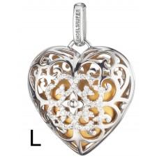 Hanger hart/zirconia zilver gerodineerd met klankhart goud 29mm - 50127